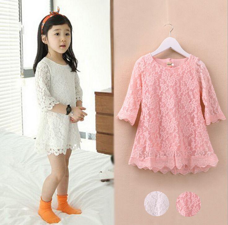 Мода корейских детей одежда красивые белые девушки кружевном платье принцесса мини платья детская одежда