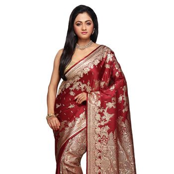 Maroon Pure Banarasi Satin Handloom Silk Saree with Blouse
