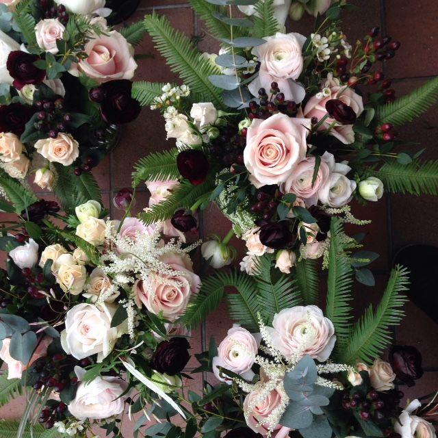 Beautiful blush & berry bridesmaids.