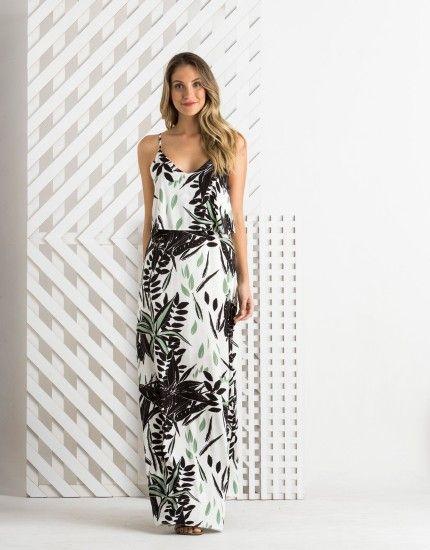 Vestido Longo Viscose Estampa Rapel 012533 - zinzane - mobile                                                                                                                                                                                 Mais