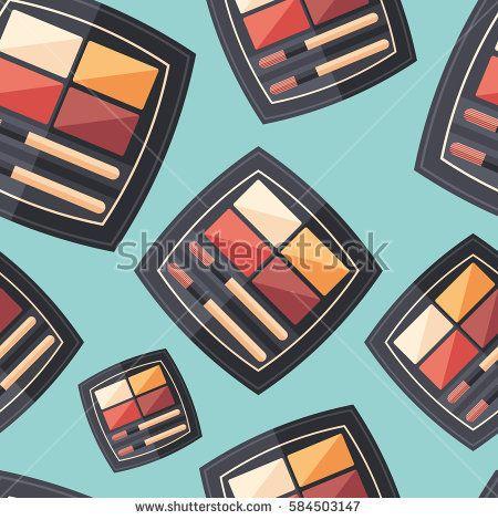 Lipstick palette flat icon seamless pattern. #beautypattern #vectorpattern #patterndesign #seamlesspattern