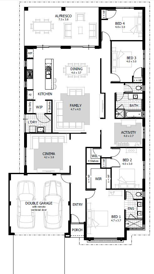 25 best ideas about 4 bedroom house plans on pinterest for Open plan house designs australia