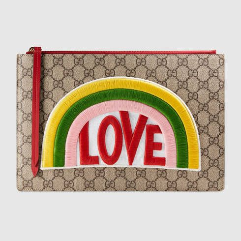 GUCCI Rainbow Soft Gg Supreme Pouch. #gucci #women's cosmetic bags