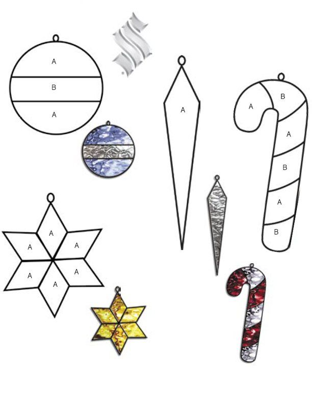 Stained Glass Christmas Tree Ornaments Patterns