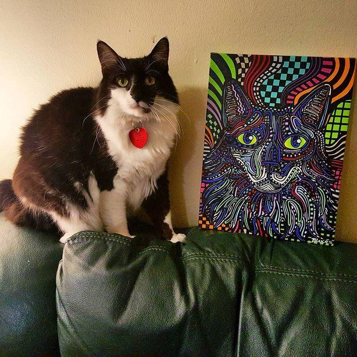 Persephone and her #portrait  #catart #catportrait #art #painting #psychedelic #color #original #catsofinstagram #artist #artlife #cat #petportrait