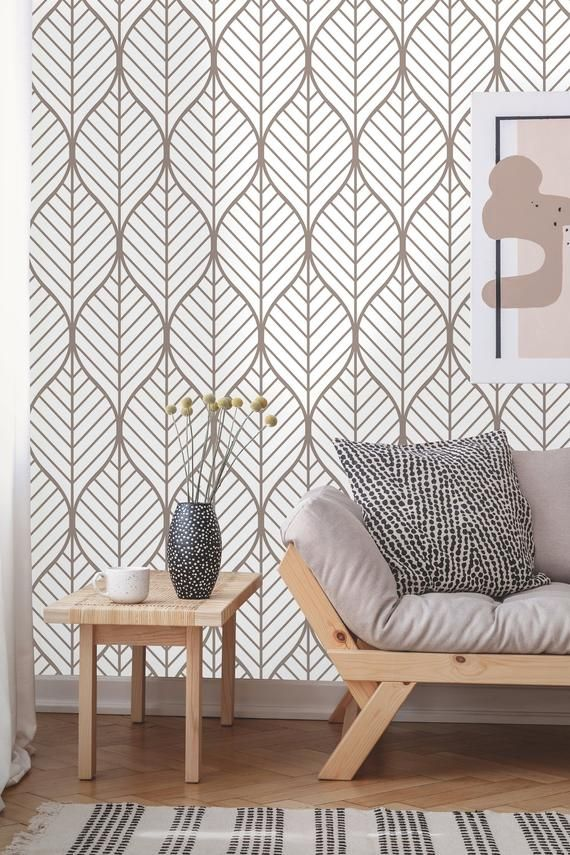 Removable Wallpaper Peel And Stick Geometric Wallpaper Self Adhesive Geometric Leaves Vintage Wallpaper In 2020 Geometric Wallpaper Peel Stick Wallpaper Textured Walls