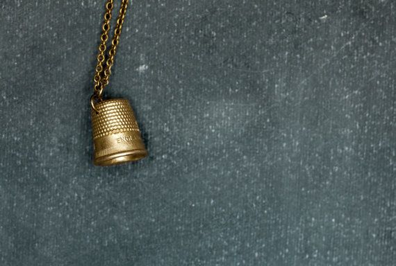 Bronze THIMBLE Pendant on Antique Brass Chain. Thimble Necklace. Perfect Gift for Sewer. Sewing Jewelry. Handmade Bronze Jewelry.