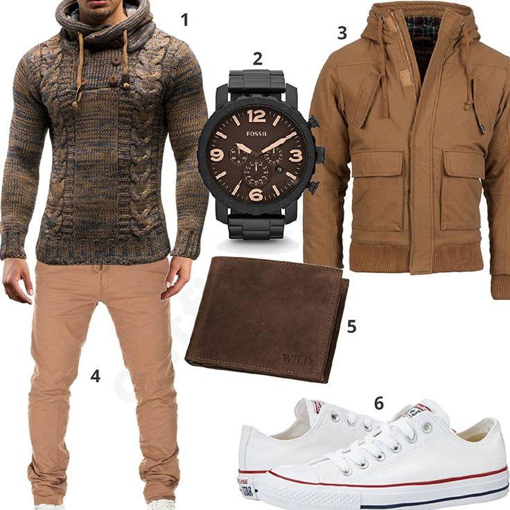 Beige-Brauner Herren-Style mit Pullover, Jacke und Fossil Uhr (m0948) #pullover #fossil #converse #chino #jacke #uhr #outfit #style #fashion #ootd #herrenmode #männermode #outfit #style #fashion #menswear #mensfashion #inspiration #menstyle #inspiration