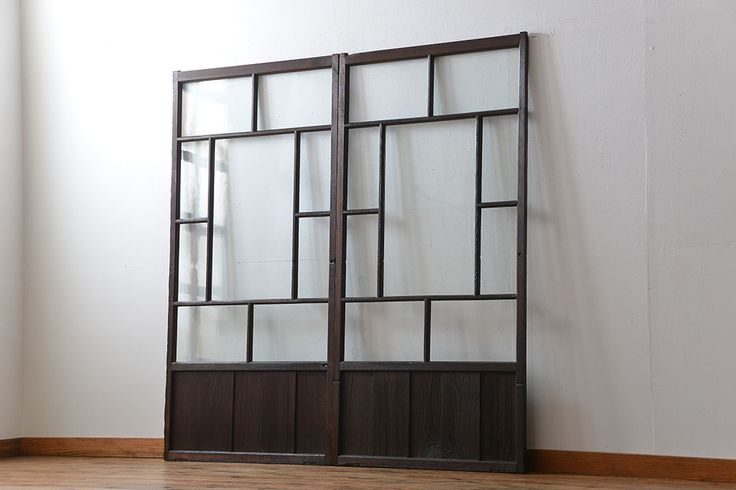 大正ロマン クリアガラス引き戸 2枚セット(パーテーション、ガラス戸、パネル、スクリーン)