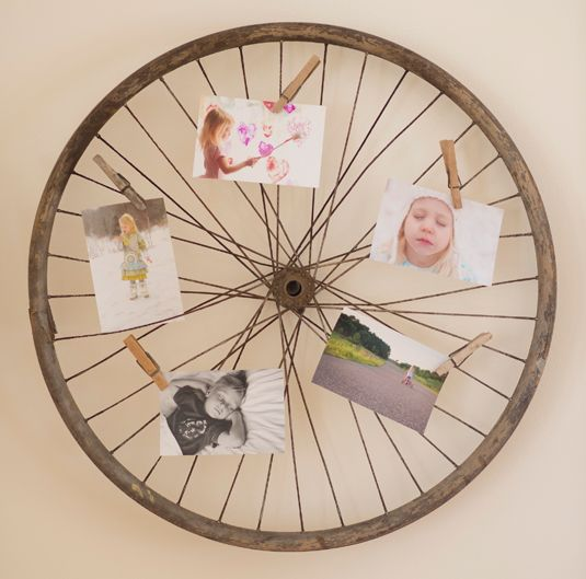 Creative Ways to Display Photos in a bicycle wheel - Amy Lockheart Crafts - Country Living Magazine | #upcycled