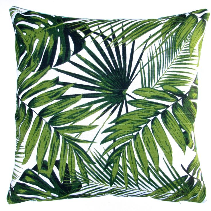 18-inch Indoor/Outdoor Tropical Throw Pillow Cover (Tropical Botanics), Green, Size 18 x 18 (Cotton, Coastal)