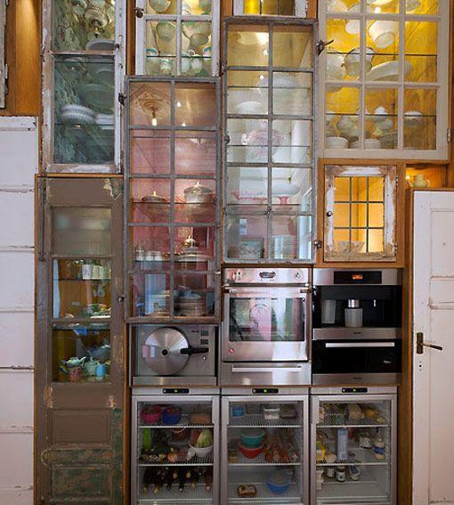 Piet Hein Eek custom made kitchen wall -very interesting cupboards!