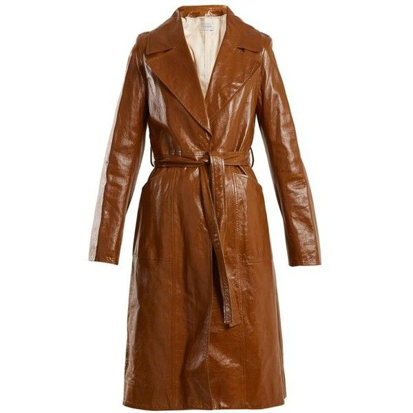 Yves Salomon Tie-waist patent-leather trench coat (135.470 RUB) ❤ liked on Polyvore featuring outerwear, coats, brown, patent trench coat, cardigan shrug, brown shrug, tie waist trench coat and patent coat