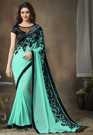$60.80: Light Aqua Faux Georgette Saree with Blouse
