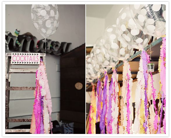 loving the translucent balloons and pretty streamers