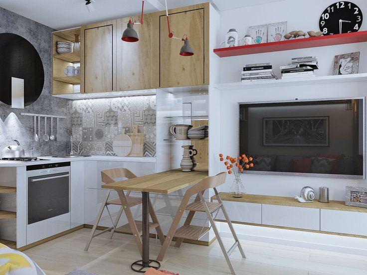 Интерьер кухни в студии 18 кв. м.