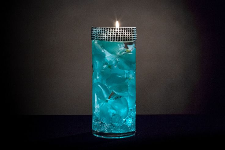 Teal Floral Centerpiece with LED Lights and Rhinestone Wrap