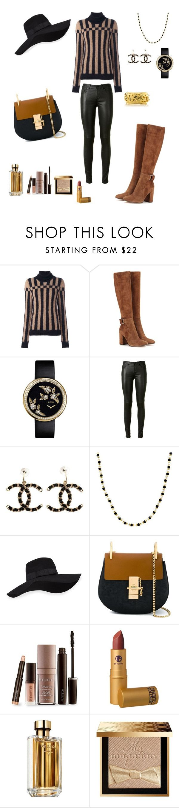 """""""Black & Brown"""" by soniauk ❤ liked on Polyvore featuring Loewe, Gianvito Rossi, Yves Saint Laurent, Chanel, San Diego Hat Co., Chloé, Laura Mercier, Lipstick Queen, Prada and Burberry"""