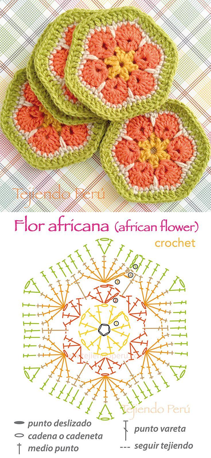 Crochet: Flor africana o african flower! Diagrama y video tutorial :)