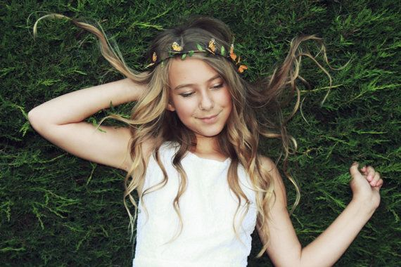 Flower Crown Magdalena Monarch Butterfly Crown by PoppyCoast