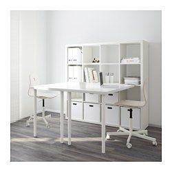 IKEA - KALLAX, Workstation, white, , You can use the furniture as a room divider because it looks good from every angle.Pre-drilled holes…