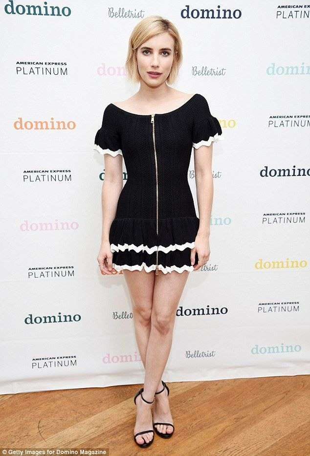 Monochrome magic! Emma Roberts cut an effortlessly chic figure in a flirty yet sophisticated black LBD as she attended the Domino x American Express Platinum bash in Bridgehampton, New York on Thursday