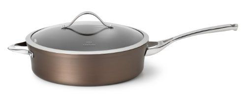 Calphalon Contemporary 5-Quart Bronze Anodized Edition Nonstick Saute Pan with Cover by Calphalon. $99.99. Holds beef tips, chicken breasts and more; the straight sides allow you to toss ingredients as you cook - just like a professional chef; the saute pan comes with a lid so, after sauteing, your meat with sauce can simmer slowly. Interior: nonstick coating; cooks with little to no oils or fats; effortless food release; non-reactive cooking surface; safe for use with nylo...