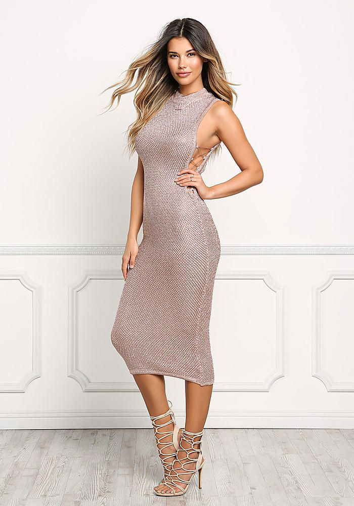 Rose Gold Metallic Knit Chain Lace Up Dress - Girls Night Out - Dresses