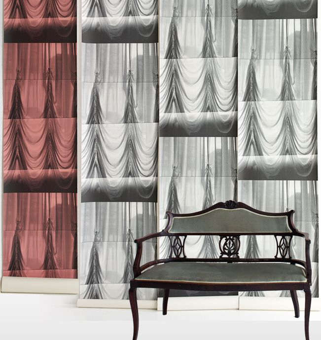 Swag wallpaper for feature wall behind the bed and on concealed doors on built in wardrobe.