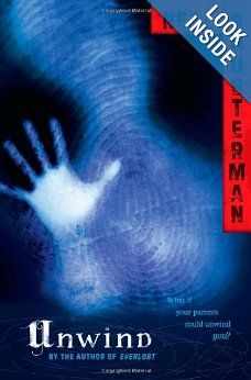 """Unwind - Neal Shusterman.  Super creepy dystopian where the Bill of Life renders abortions illegal, but teenagers can be """"unwound"""" - dismembered, with their parts and organs harvested for those in need of transplants - because the process of unwinding doesn't end their lives, just scatters them into millions of living pieces."""