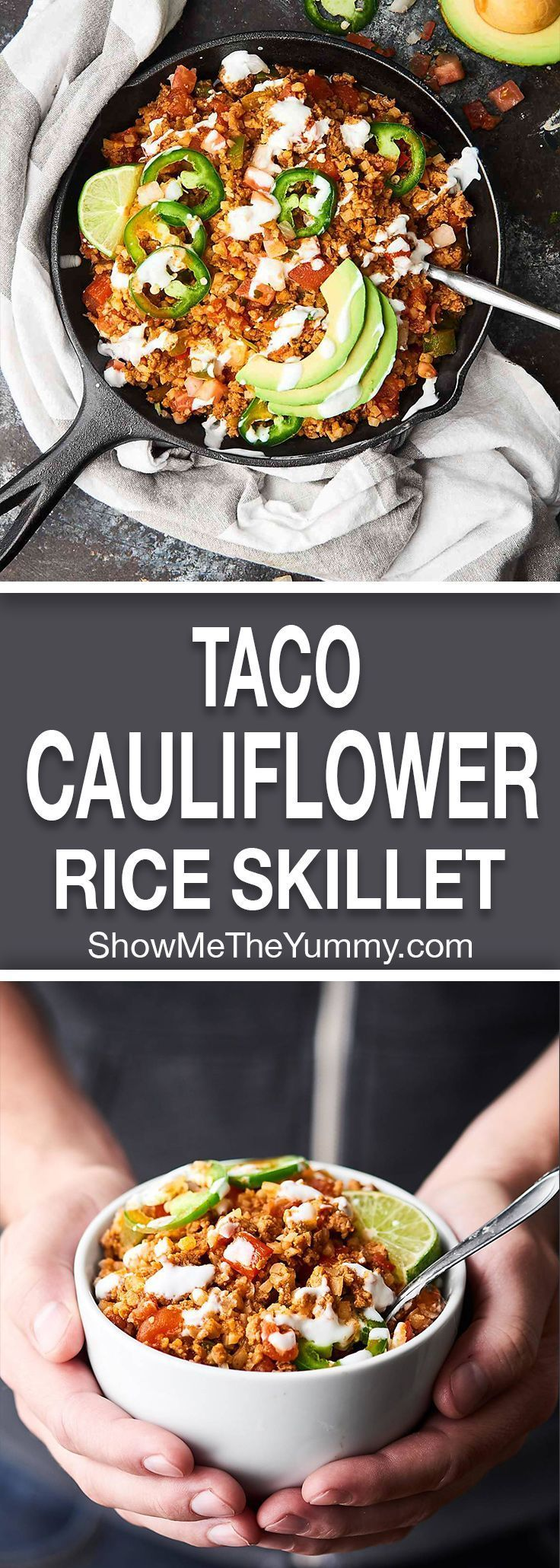 This Taco Cauliflower Rice Skillet is quick, easy, healthy, low carb, and absolutely delicious! Loaded with ground turkey or chicken, vegetables, and frozen cauliflower rice! showmetheyummy.com #cauliflowerrice #taco