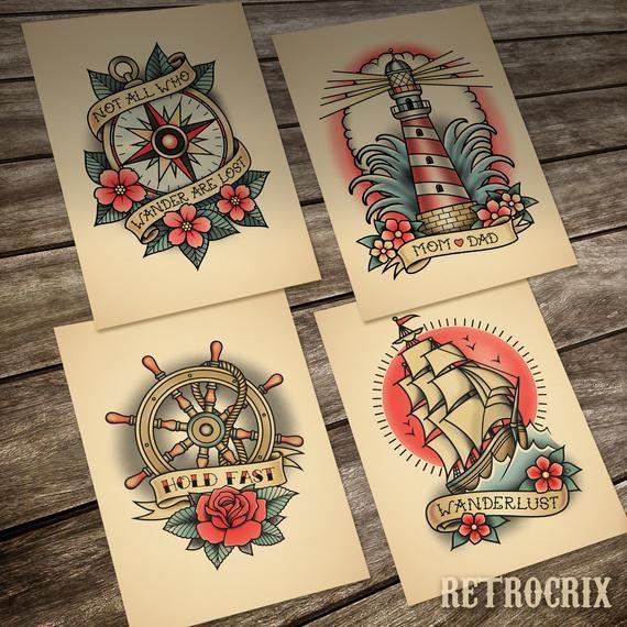 Old School Nautical Tattoo A Set Of 4 Prints 13 X18 Cm 5 X 7 In 2020 Nautical Tattoo Traditional Nautical Tattoo Traditional Tattoo Old School