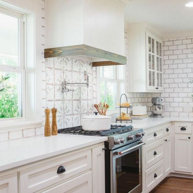 25 Farmhouse Kitchen Backsplash Joanna Gaines French Country At A Glance 21 Backsplas European Farmhouse Kitchen French Country Kitchen Fixer Upper Kitchen