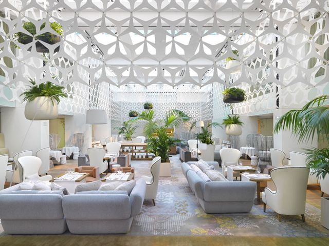 Lobby of the Mandarin Oriental Hotel in  Barcelona, Spain, designed by Patricia Urquiola