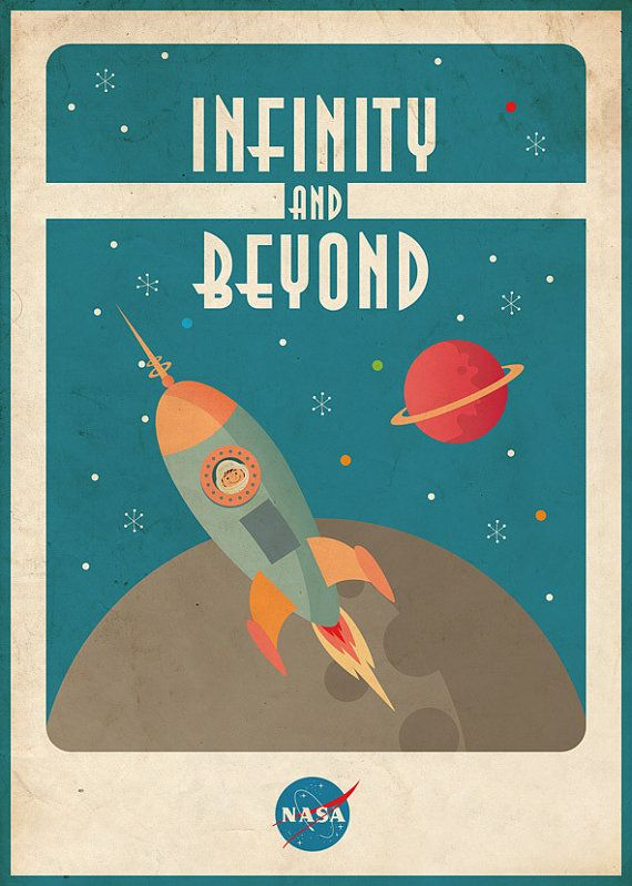Vintage Space Poster (Space Rocket)-- Print and Frame for Baby Room