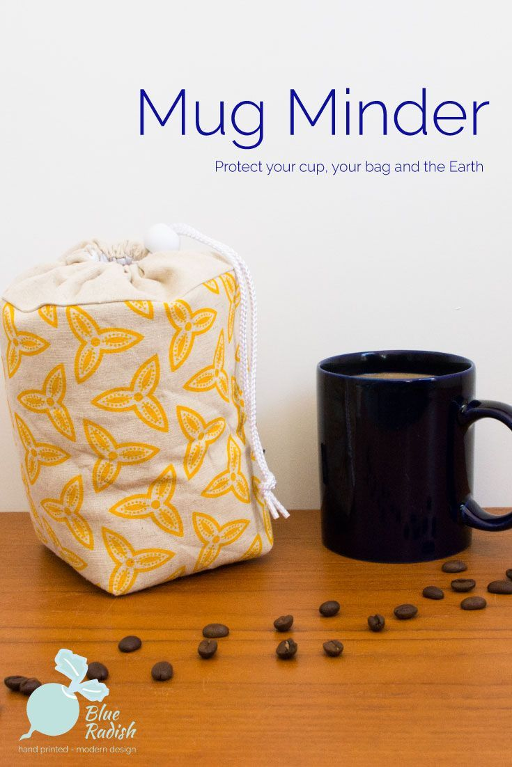 The Mug Minder will keep your reusable mug safe in your bag or car in transit to the coffee shop. Hand printed Trefoil design in yellow ink on natural coloured linen/cotton. Padded with waterproof lining. Follow the link to reduce your use of disposable cups.