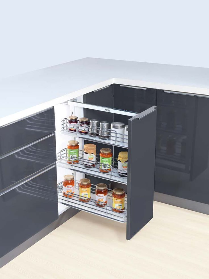 Tripple Basket Pullout- In a multi-flavored Indian milieu the designated space for every single kitchen item is of utmost importance. An ideal space solution is Double/Triple basket pullout with its large floor space and magnificent capacity to accommodate almost everything in perfect hierarchy as well as harmony.