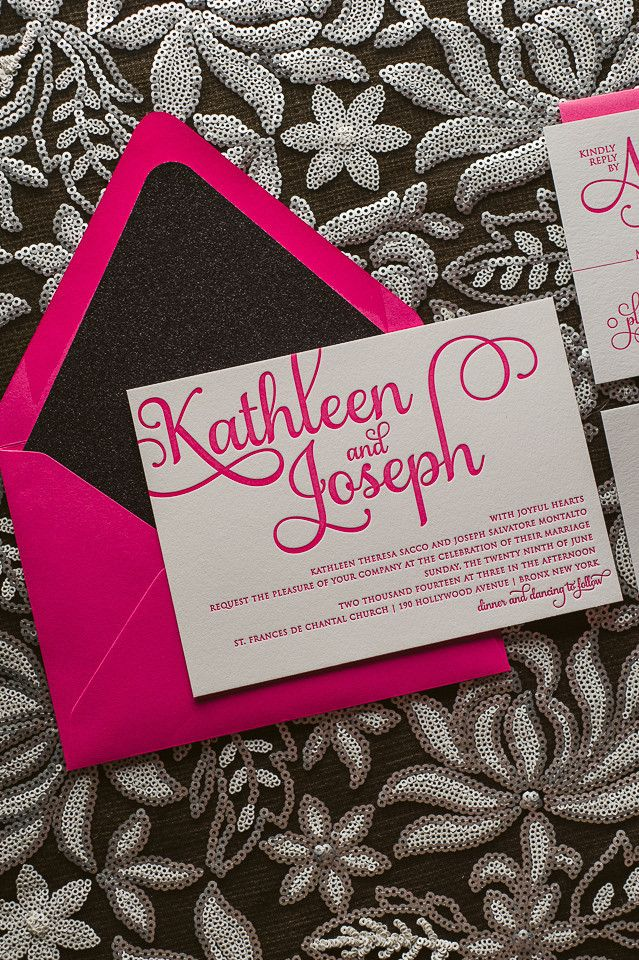 ADELE Suite Glitter Package, hot pink and black, black glitter, glitter wedding invitations, letterpress wedding invitations, http://justinviteme.com/collections/samples-1/products/adele-suite-sample