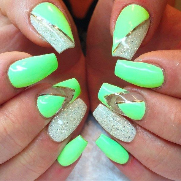 neon green nails - Google Search