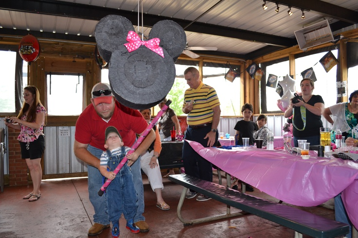 Homemade Minnie Mouse Piniata for my daughter Ava's 1st birthday