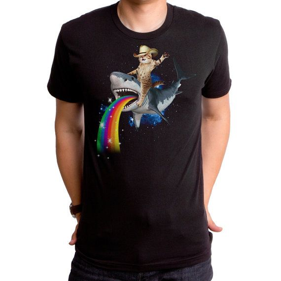 Bucking Sharkaroo (GT4780-101BLK) Men's T-shirt. Cowboy tees, cats, sharks, rainbows, cats tees, cat lovers, shark week, funny cat t-shirts.
