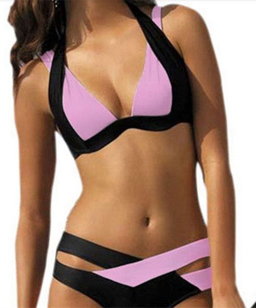 Copy of Hot! Low Waisted Halter Neck Push Up Bikini Swimsuits