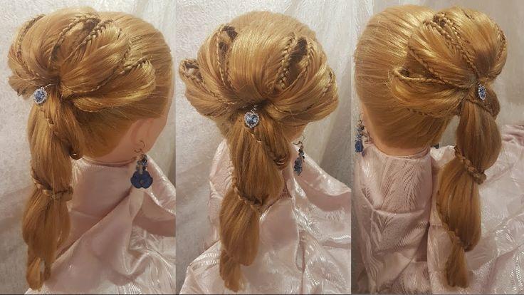Прически высокий хвост на длинные волосы цветок спиральная коса плетение...