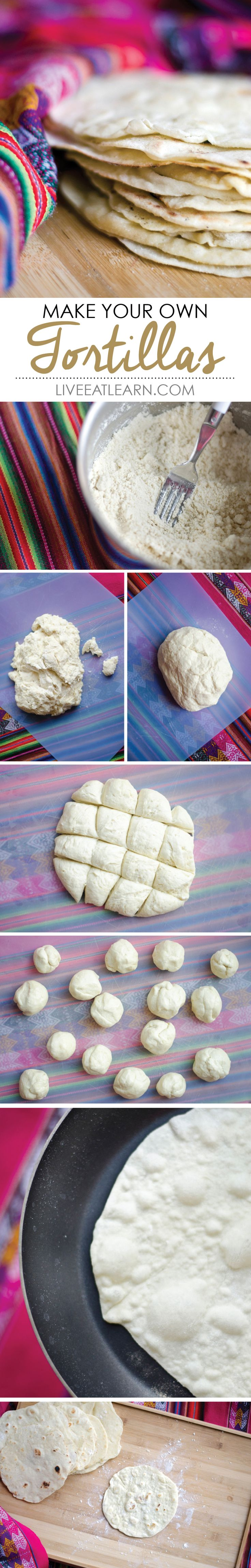 Make your own homemade flour tortillas with optional wheat, spinach, or red bell pepper! // Live Eat Learn