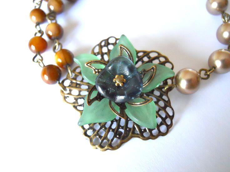 Flower Bracelet bronze pearls brown beads navy flower Wedding bracelet Free Shipping gift 30.00 USD Available at http://ift.tt/1NM3wVS