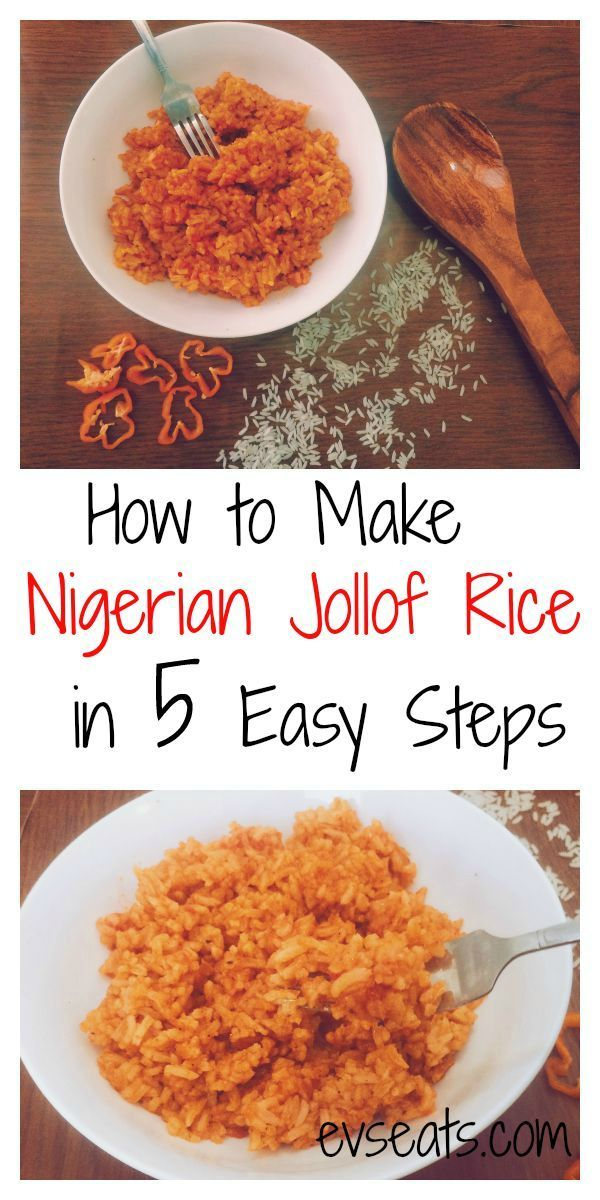 Delicious Nigerian Jollof Rice made in just 5 easy steps! #tomatoes #scotchbonnetpeppers #rice #nigeria