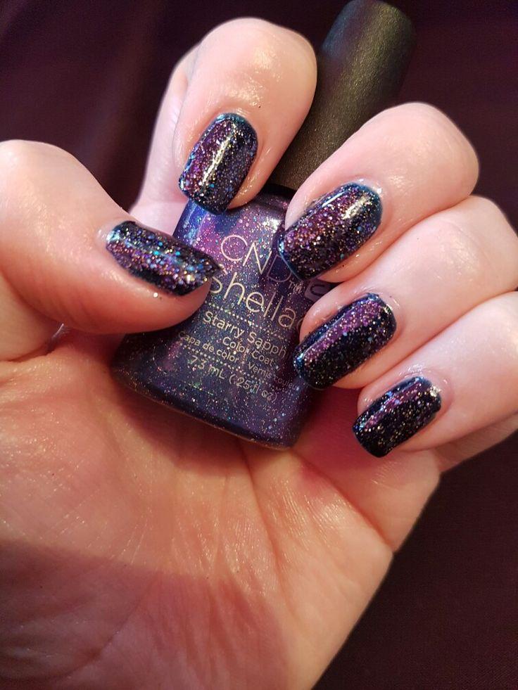 CND Shellac Midnight Swim Layered with Starry Sapphire