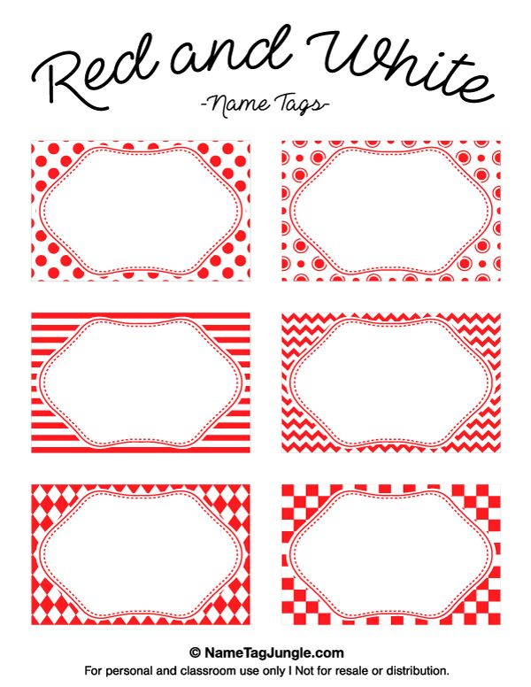 Free printable red and white name tags featuring chevrons, stripes, and other patterns. The template can also be used for creating items like labels and place cards. Download the PDF at http://nametagjungle.com/name-tag/red-and-white/