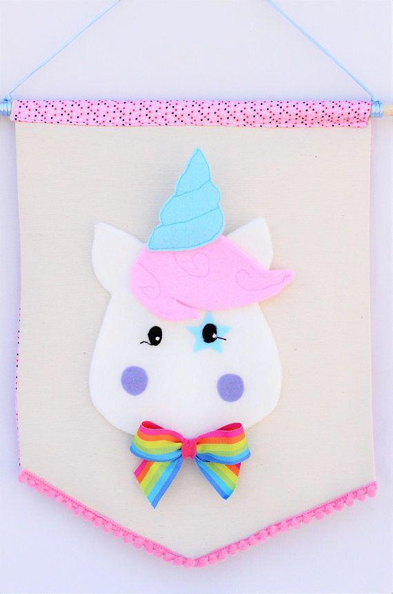 Banderola bebé Unicornio decoración dormitorio infantil