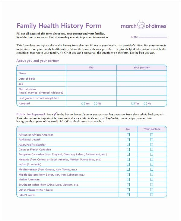 Family Health History Form Template Luxury Medical History Form 9 Free Pdf Documents Download Family Health History Health History Form Health History